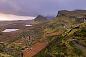 The Trotternish mountain range at the Quiraing, Isle of Skye, Inner Hebrides, Scotland, United Kingdom, Europe