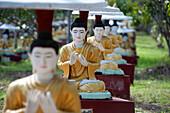 Buddha statues each planted alongside a Bo tree in Maha Bodhi Ta Htaung, 1000 great Bo trees, Monywa township, Sagaing Division, Myanmar Burma, Asia