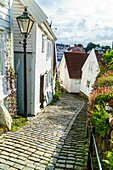 Old Stavanger Gamle Stavanger comprising about 250 buildings dating from early 18th century, mostly small white cottages, Stavanger, Rotaland, Norway, Scandinavia, Europe