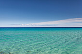 Crystal blue water with nobody, no people in Fuerteventura. canary Islands
