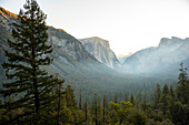 View of Yosemite Valley from Tunnel View at sunrise. California, USA.
