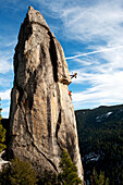 Corey Rich photographs Mitch Underhill on a climb on Lower Phantom Spire, South Lake Tahoe, CA.