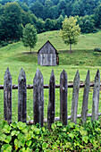 Dilapidated fence and barn in rural farm field