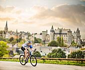 Caucasian man cycling outdoors