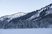 Winterly snowcovered landscape in the Kleinwalser valley in Vorarlberg just before sunset, Vorarlberg, Austria