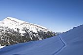 Schwarzwassertal mit Blick auf den hohen Ifen bei Sonnenschein, Vorarlberg, Österreich