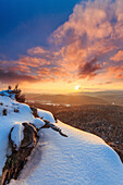 Branch lying in snow, view of Puhlstein, Busenberg, Palatinate Forest, Rhineland-Palatinate, Germany