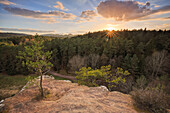 sandstone rock formations at Dahnerfelsenland at sunset, Dahn, Palatinate Forest, Rhineland-Palatinate, Germany