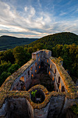 A glorious light display at Graefenstein castle near Merzalben, Palatinate Forest, Rhineland-Palatinate, Germany