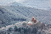 The Berwartstein castle in snow, View from the Schlüsselfels, Palatinate Forest, Rhineland-Palatinate, Germany