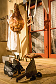 the ax and the cut shoes, reconstitution of the butcher's, the house of the'jour de fete' in homage to the movie 'the big day' by jacques tati filmed in the village, sainte-severe-sur-indre (36), france