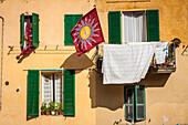 drapeau d'une confrerie du palio ornant le balcon d'un immeuble d'un quartier de sienne, sienne, italie, union europeenne
