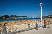 railing along la concha, universal symbol of the city, ondarreta beach, la concha bay, san sebastian, donostia, basque country, spain