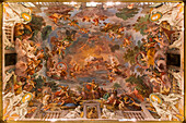fresco on the vault of the entrance hall of the villa borghese, gallery, museum, rome, italy, europe