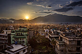 sunset over the city of kathmandu shortly after the major earthquake in 2015, kathmandu, nepal