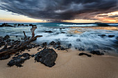 sunset over the volcanic beach, big beach, makena, kihei, maui, hawaii, united states, usa