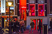 red light district (prostitution and sex shops), oudezijds achterburgwal canal, amsterdam, holland