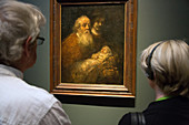 visitors at the rembrandt exhibition, rijksmuseum, amsterdam, holland