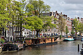 group of tourists and houseboats, amsterdam, holland