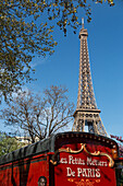 caravan of the small trades of paris in front of the eiffel tower, 16th arrondissement, paris (75), france