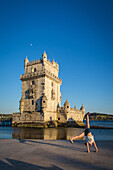 the belem tower, built in the 16th century to protect the entrance to the port of lisbon, the tower is listed as a world heritage site by unesco, lisbon, portugal