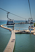 cable cars, neighborhood of the park of nations, lisbon, portugal, europe