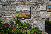 the house, painting by theodore rousseau, mosaic, church of barbizon, discovery circuit of barbizon school painters, (77) seine et marne, ile de france, france