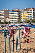 canvas beach huts, beach of saint jean de luz, basque country, (64) pyrenees atlantiques, aquitaine