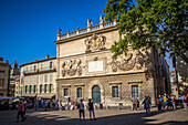 hotel des monnaies, or the mint, dedicated to pope paul v in the 17th century, on the square in front of the popes' palace, place du palais, avignon, vaucluse (84), paca, provence alpes cote d'azur, france