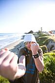 Adam Welch picks a fight with the cameraman at Pleaeure Point in Santa Cruz, California