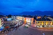 Music concert at dusk in Piazza grande Locarno, Ticino, Switzerland