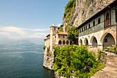 Hermitage of Santa Caterina del Sasso, a roman catholic monastery Leggiuno, Lombardy, Italy