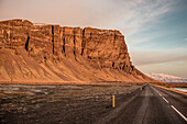 Ring Road and Mountain Range at sunset, Winter, Cold, Southern Iceland, Iceland