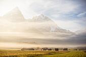 Ehrwalder Sonnenspitze in the mist, Morning mood, View from Ehrwald, Mieminger Range, Zugspitze, Alps, Tyrol, Austria