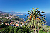 View over Orotava Valley to the north coast and Puerto de la Cruz und den Teide, Tenerife, Canary Islands, Spain, Atlantic, Europe