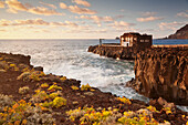Hotel Punta Grande at sunset, Las Puntas, El Golfo, lava coast, UNESCO biosphere reserve, El Hierro, Canary Islands, Spain, Atlantic, Europe