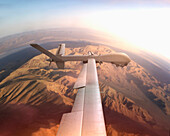 Aerial view of drone flying over desert landscape