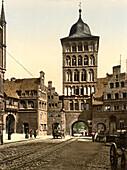 Tower Arch, Lubeck, Germany, Photochrome Print, circa 1901