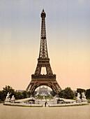 Eiffel Tower, Paris, France, Photochrome Print, circa 1901