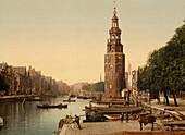 Canal Scene, Oude Schans, Amsterdam, Holland, Photochrome Print, circa 1901