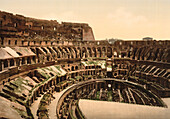 Interior of Coliseum, Rome, Italy, Photochrome Print, circa 1901