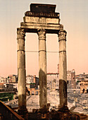 Ruins of Temple of Castor and Pollux, Rome, Italy, Photochrome Print, circa 1901