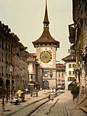 Zytglogge Clock Tower, Bern, Switzerland, Photochrome Print, circa 1901