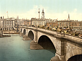 London Bridge, London, England, Photochrome Print, circa 1901