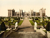 East Terrace and Windsor Castle, Windsor, Berkshire, England, Photochrome Print, circa 1901