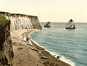 Freshwater Bay Arch and Stag Rocks, Isle of Wight, England, Photochrome Print, circa 1901