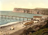 General View, Saltburn-by-the-Sea, Yorkshire, England, Photochrome Print, circa 1901