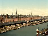 Warehouses at docks, Hamburg, Germany, Photochrome Print, circa 1901