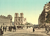 Notre Dame and St. Michael Bridge, Paris, France, Photochrome Print, circa 1901
