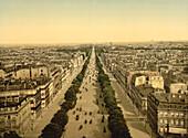 Champs Elysees, Paris, France, Photochrome Print, circa 1901